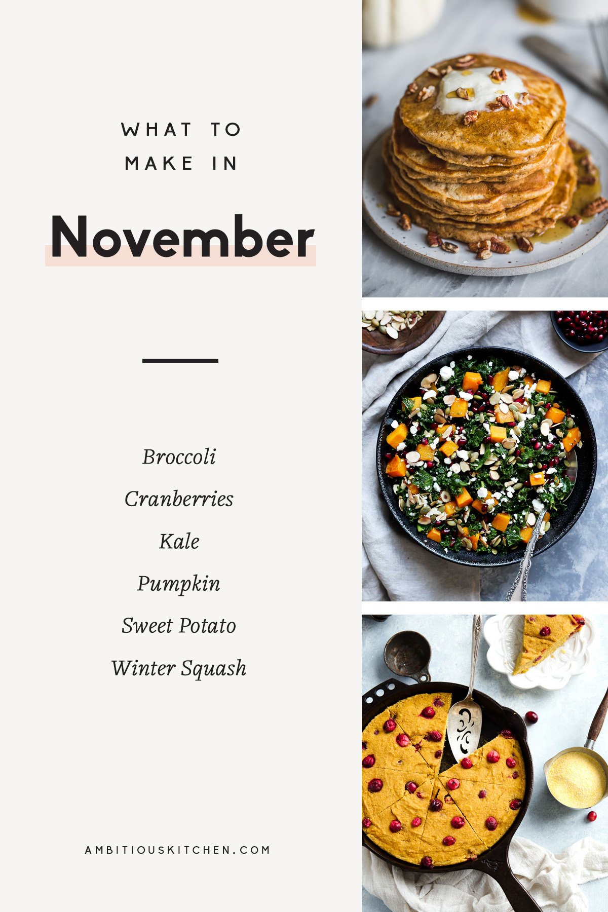 Delicious, comforting recipes to cook in November! These healthy fall recipes are a great way to use up seasonal produce like pumpkin, winter squash, kale, sweet potatoes, and cranberries for any meal of the day.