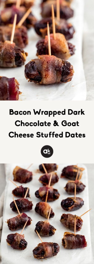 collage of bacon wrapped goat cheese stuffed dates