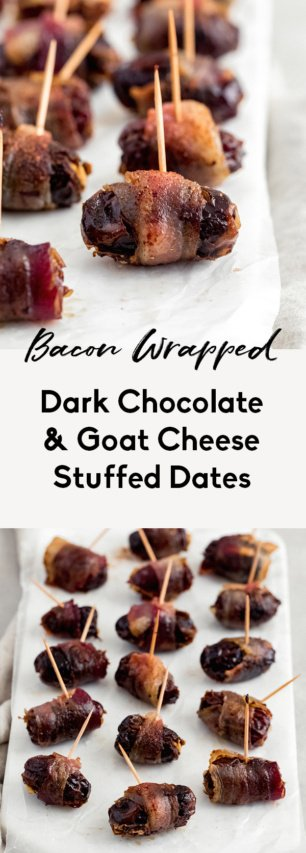 collage of bacon wrapped stuffed dates