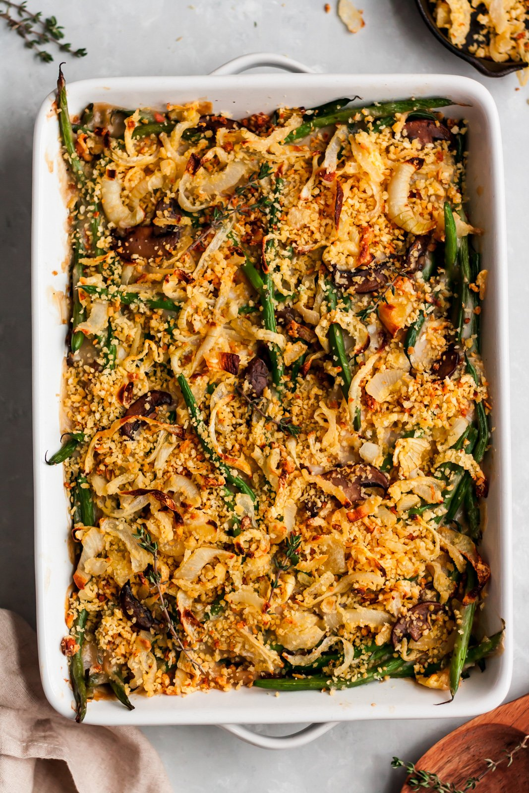 healthy green bean casserole in a baking dish