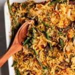 green bean casserole in a pan