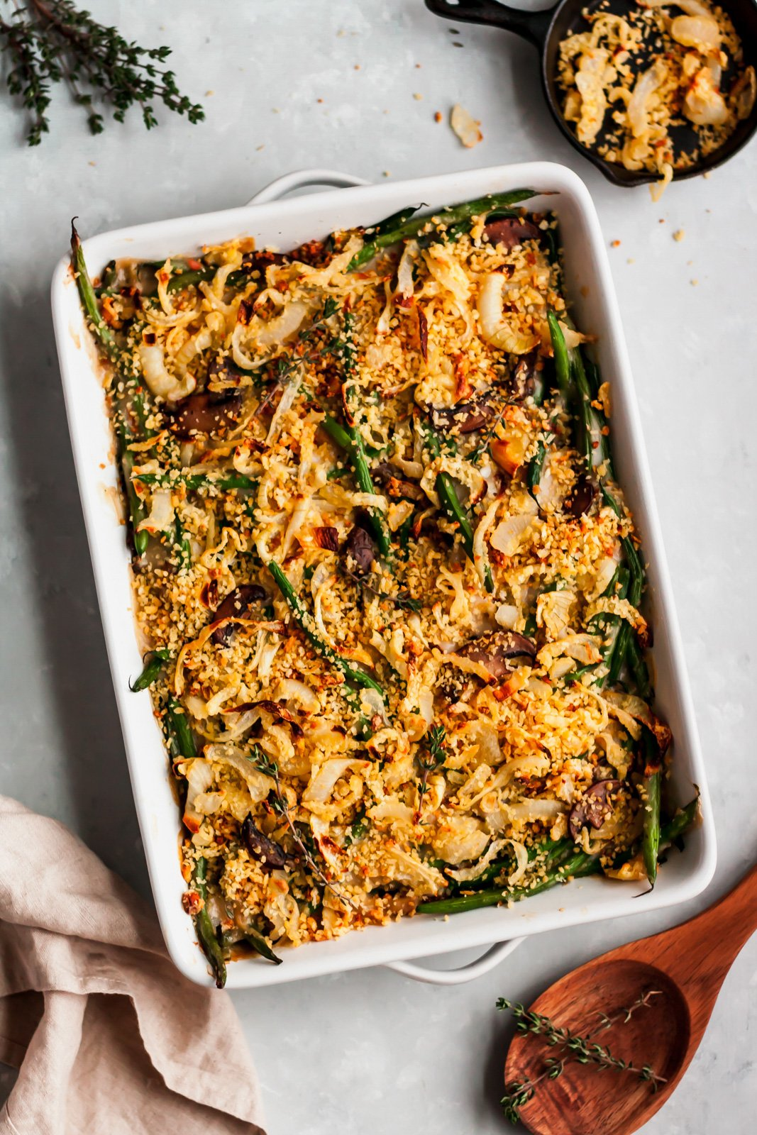 homemade healthy green bean casserole in a baking dish