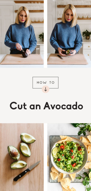 collage showing how to cut an avocado
