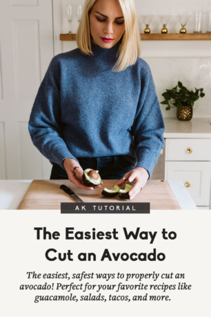 blonde woman demonstrating how to cut an avocado with a title underneath