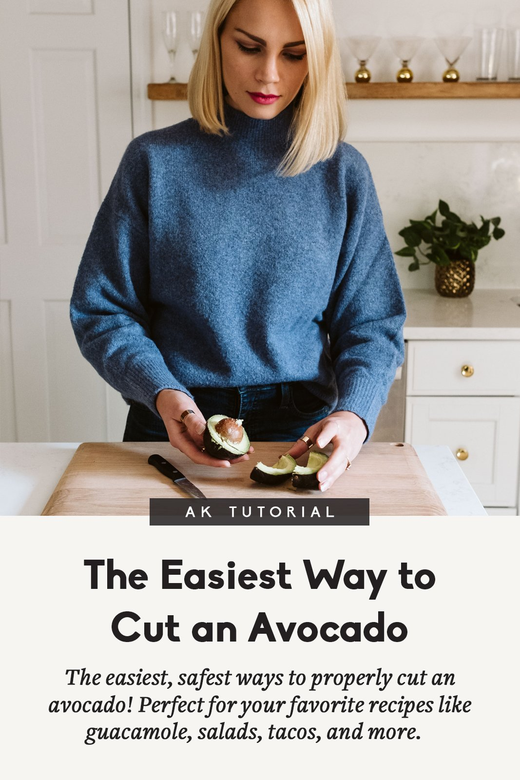 blonde woman demonstrating how to cut an avocado with a title below