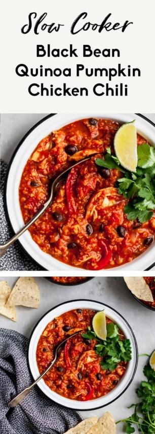 collage of slow cooker pumpkin chicken chili