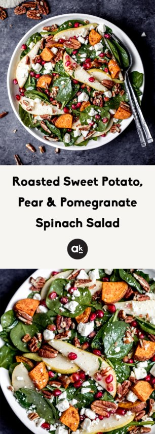 collage of pomegranate spinach salad