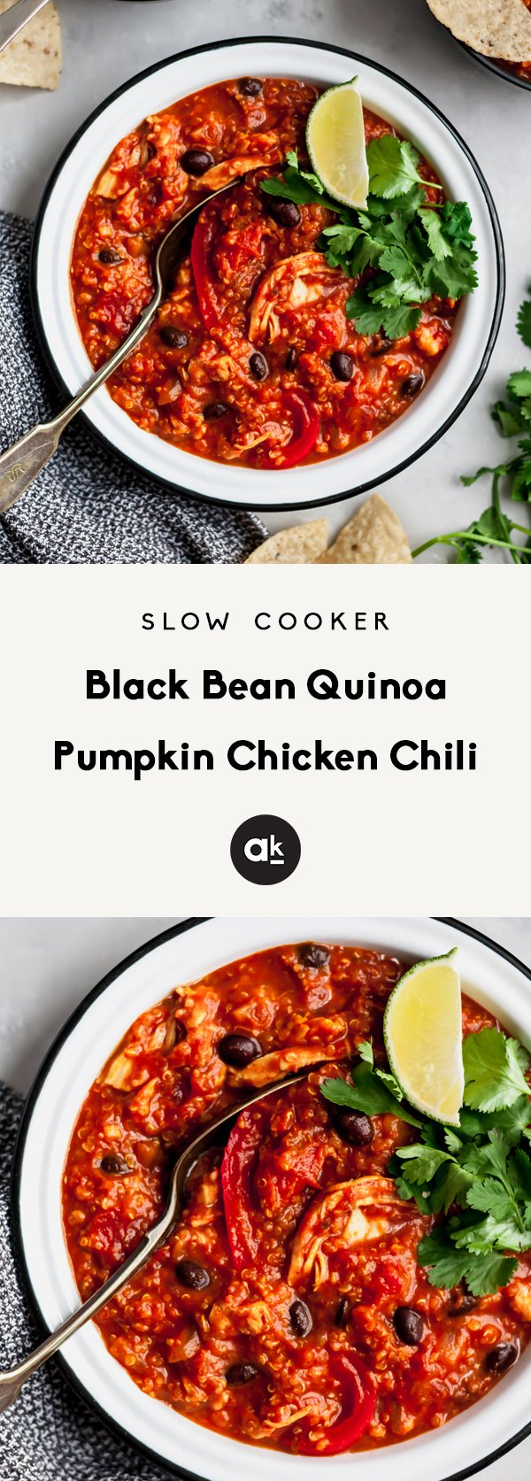Delicious pumpkin chicken chili with black beans and quinoa! This protein packed delicious gluten free dinner can be made in your slow cooker for an easy, hearty dinner. Perfect paired with a side of cornbread.
