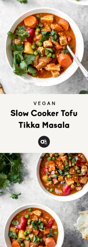collage of vegan slow cooker tofu tikka masala