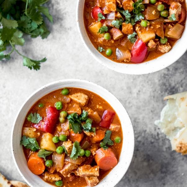vegan slow cooker tofu tikka masala in two bowls