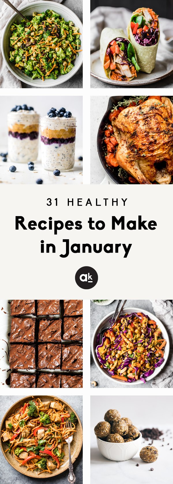 31 delicious, healthy recipes to make in January! From make-ahead breakfast and lunches to lightened-up desserts, these incredible recipes are the perfect way to meal prep using seasonal ingredients.