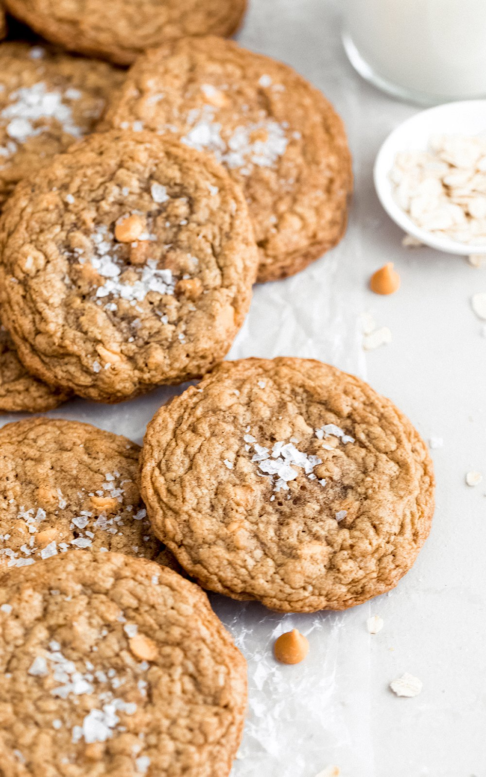 butterscotch oatmeal cookies on parchment paper