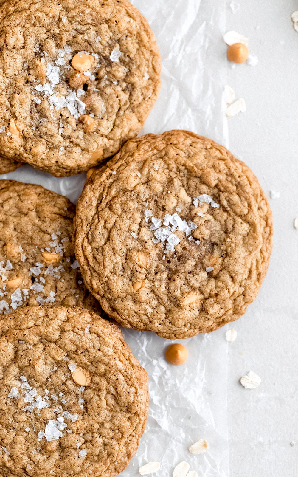 best cookie recipes: butterscotch oatmeal cookies on parchment paper