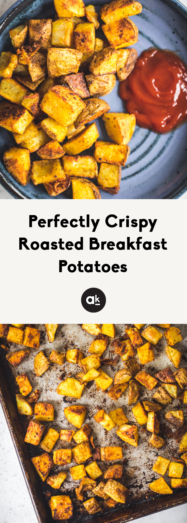 Delicious crispy breakfast potatoes roasted to perfection in the oven. Heavily flavored with spices like turmeric, garlic and cumin. Wonderful served with eggs, avocado, sausage or bacon!