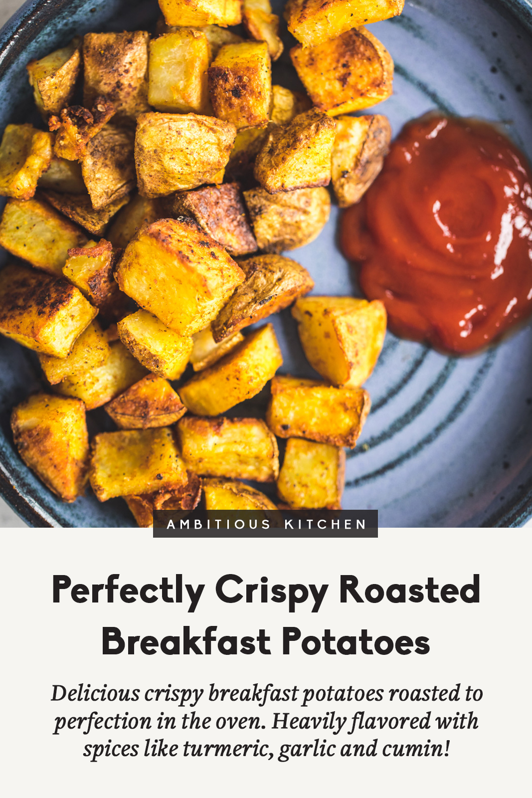 crispy roasted breakfast potatoes on a plate with ketchup and a title underneath