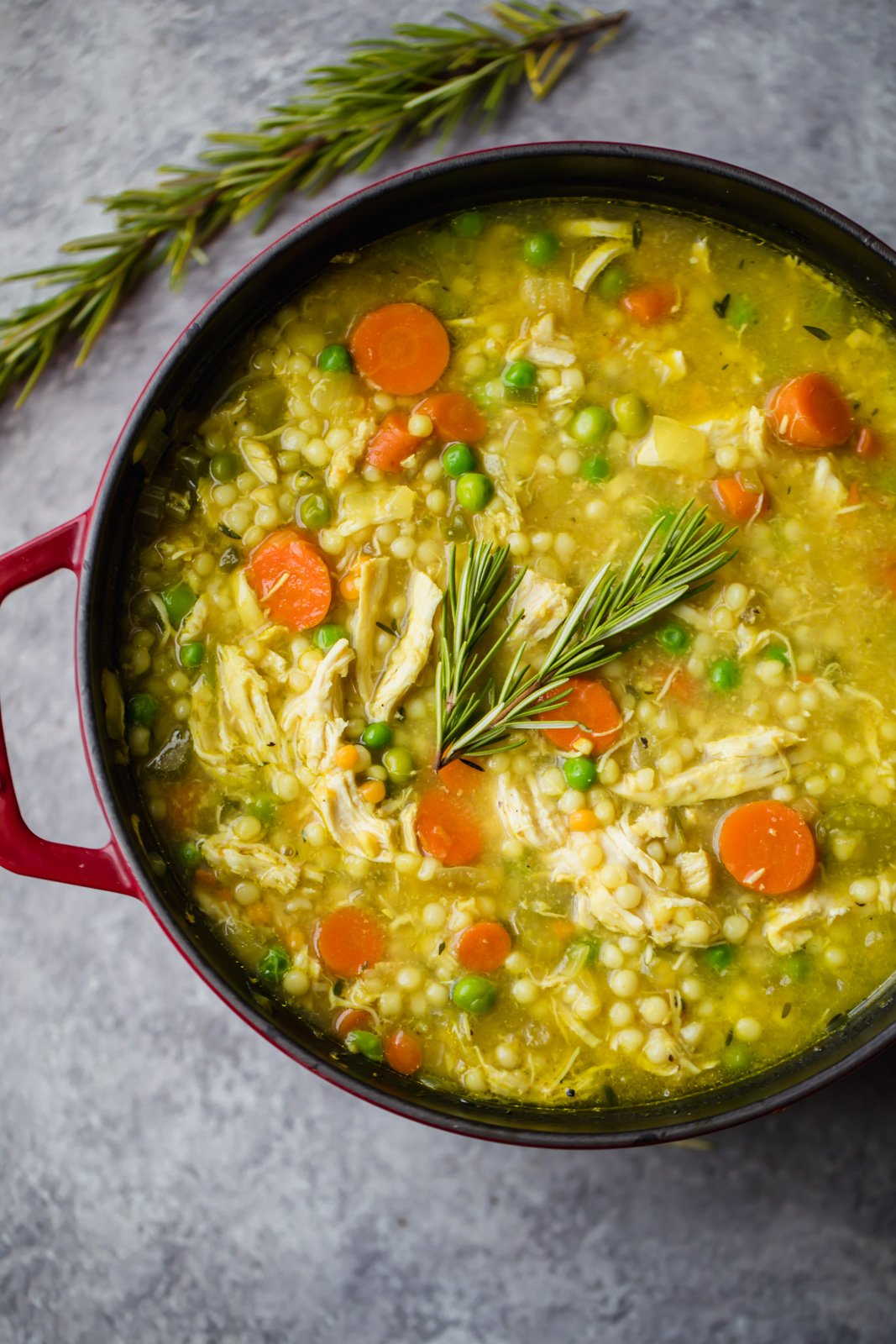chicken soup with couscous in a pot