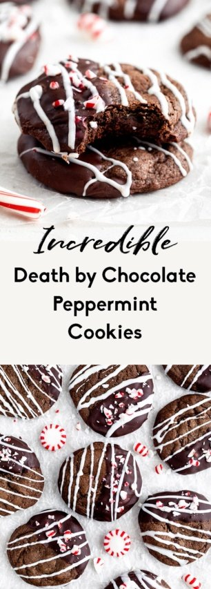 collage of double chocolate peppermint cookies