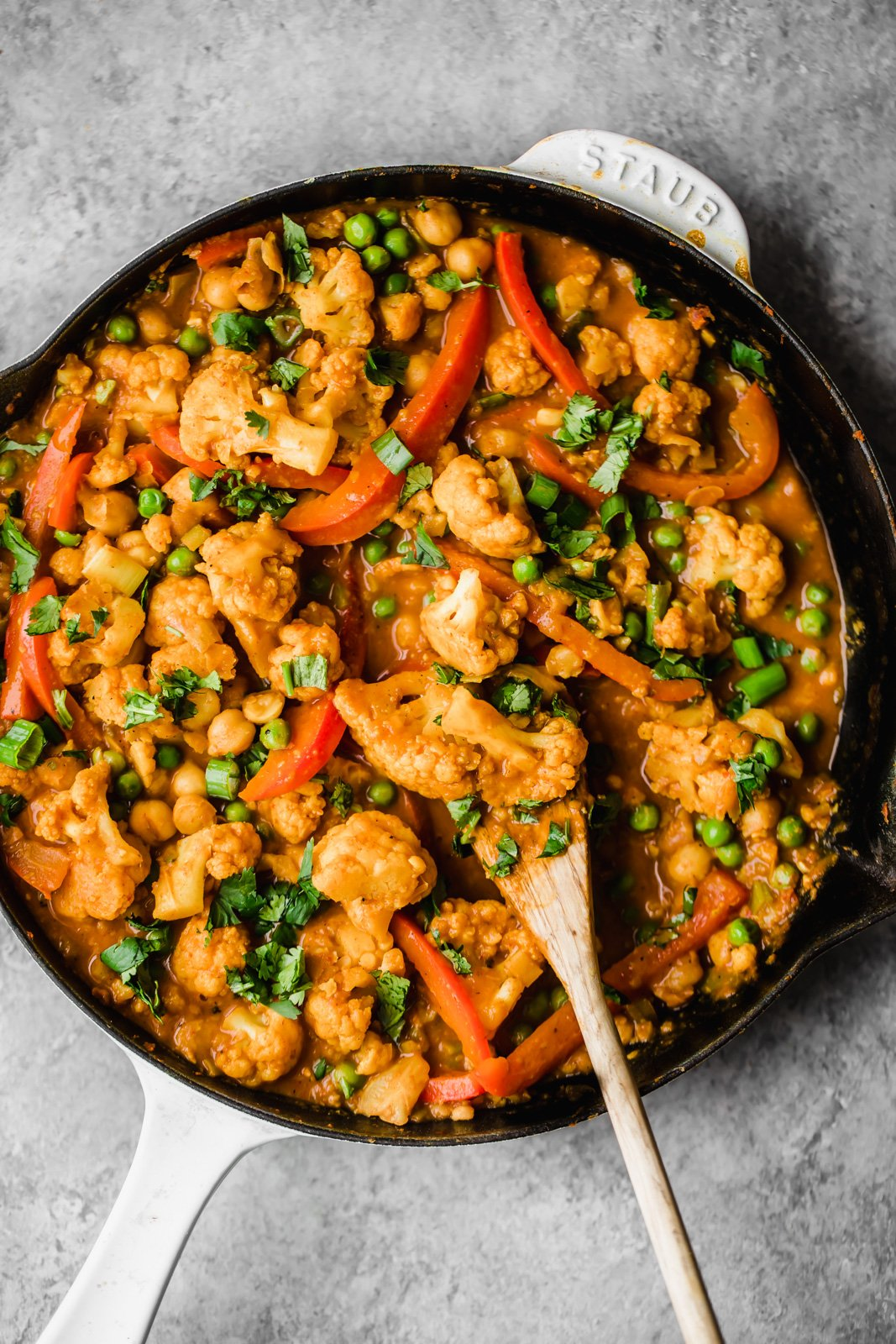 coconut cauliflower chickpea curry in a skillet