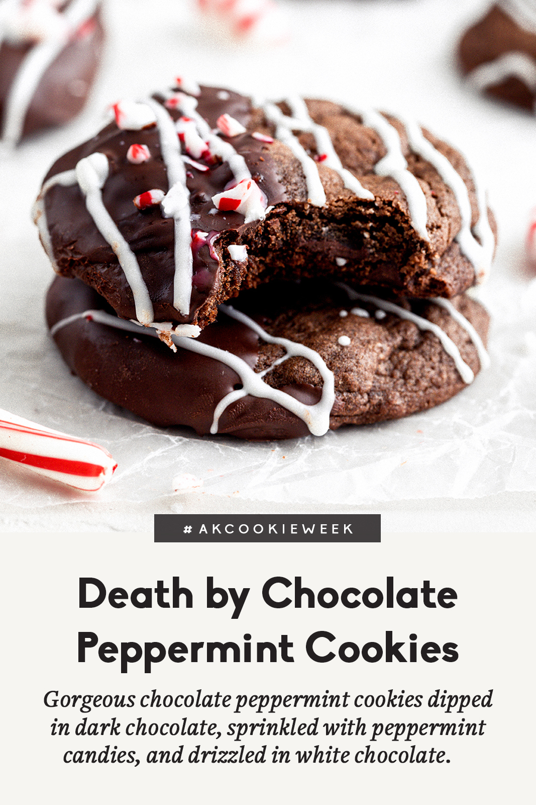 chocolate peppermint cookies with a title underneath