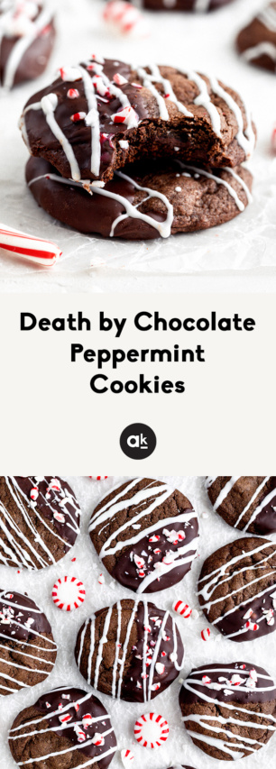 collage of chocolate peppermint cookies