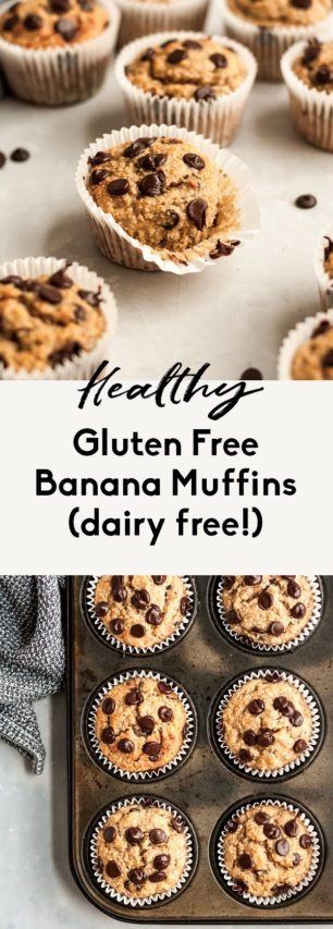 collage of gluten free banana muffins