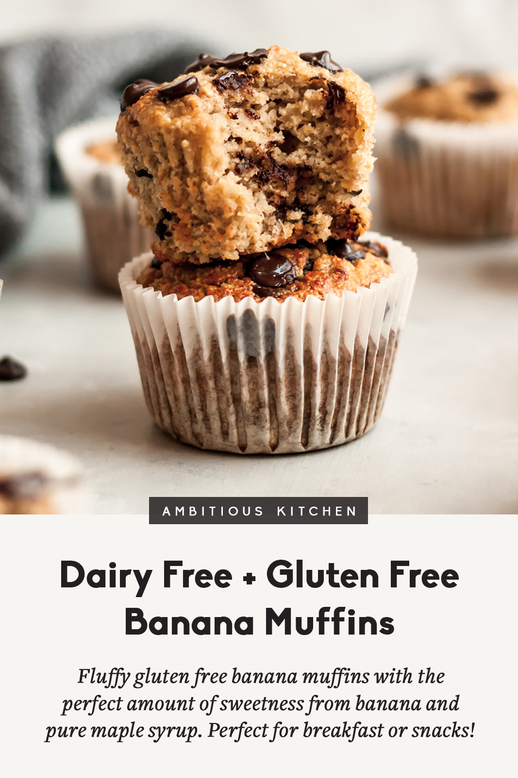 gluten free banana muffins in a stack with a title underneath