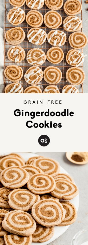 collage of grain free gingerdoodle cookies