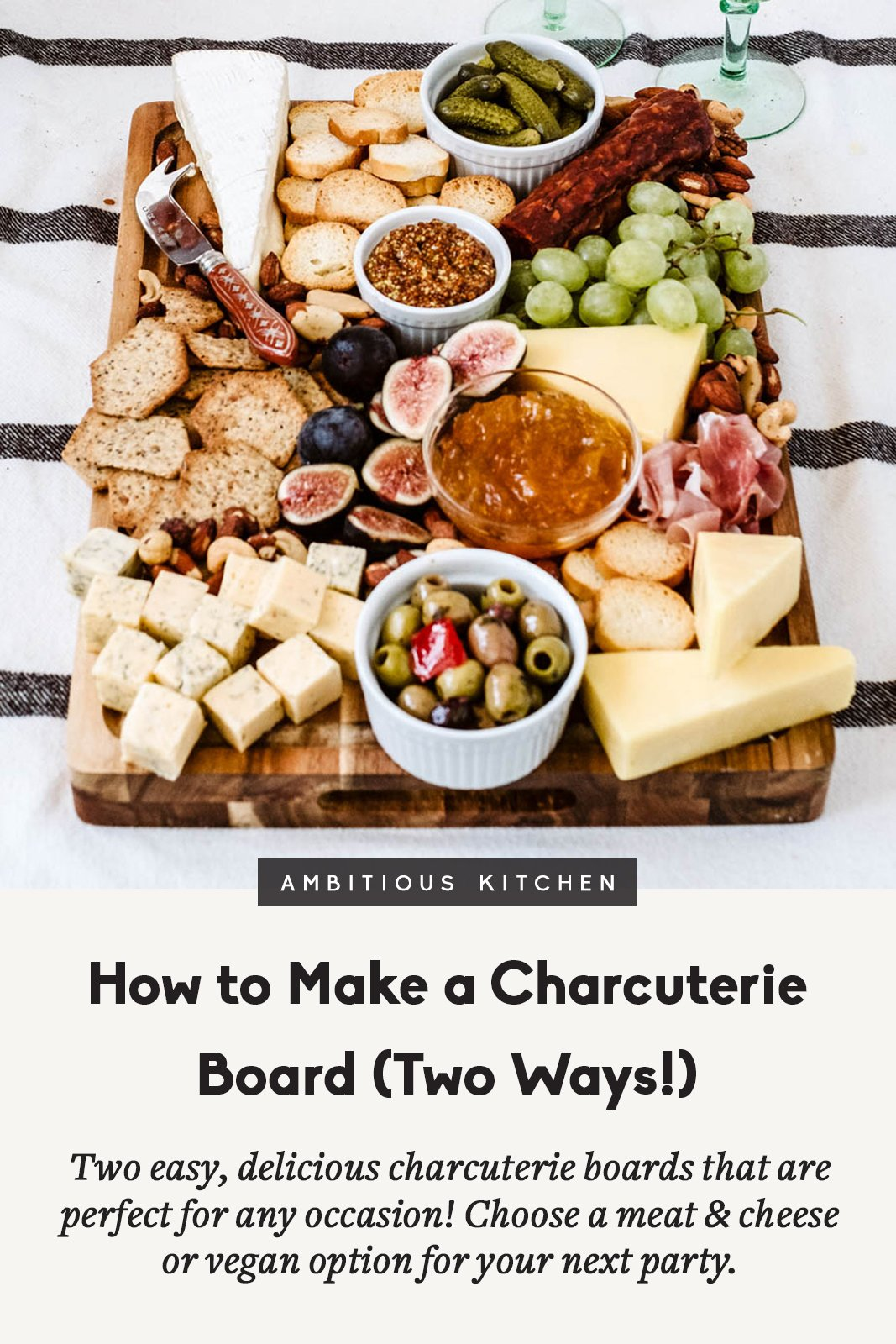 how to make a charcuterie board with text overlay