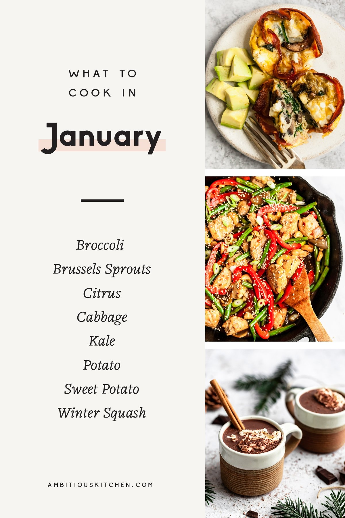 collage of healthy recipes to cook in january