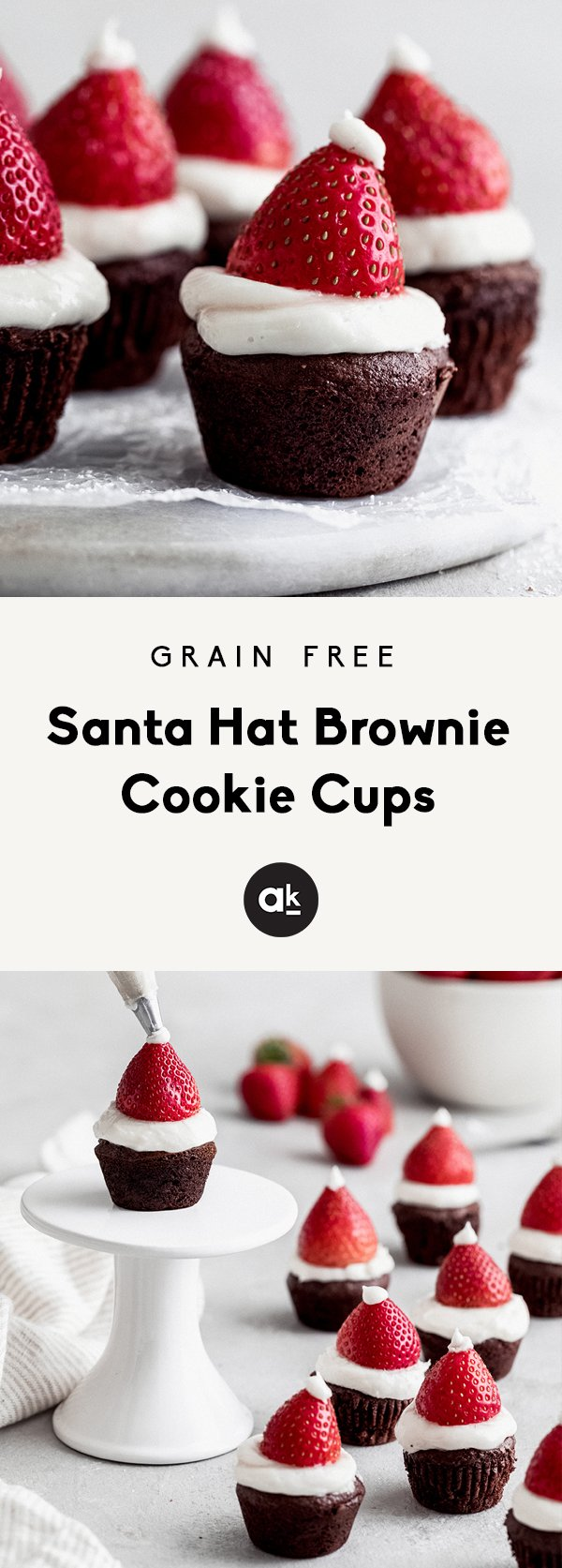 Adorable Santa Hat Brownie Cookie Cups that are perfect for the holiday season. Easy to make, gluten free and so fudgy! This recipe is in partnership with ALDI.