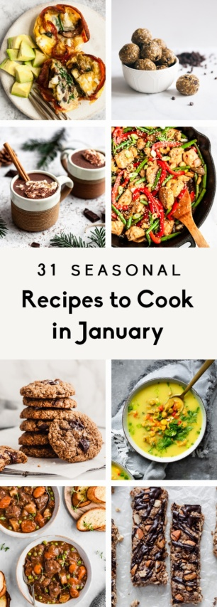 collage of seasonal, healthy recipes to cook in january