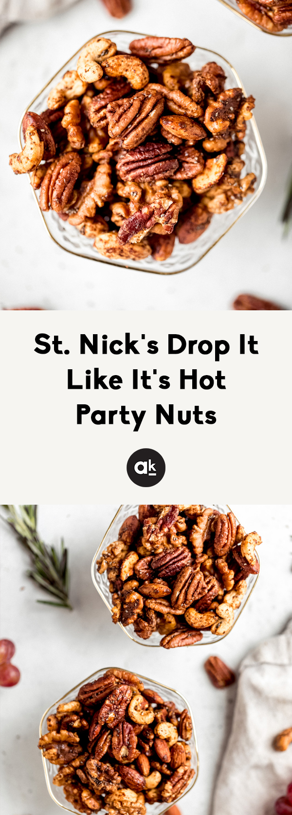 Santa's sweet and spicy party nuts are not your average nuts. They're sweet with maple syrup, spicy thanks to cayenne -- the perfect mix of naughty and nice. Make them for someone this holiday season and have a jolly good time.