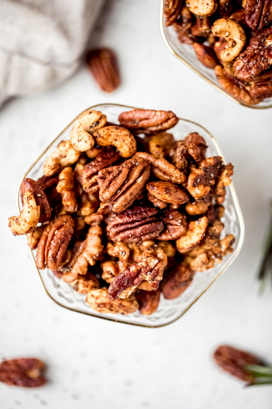 sweet and spicy nuts in a glass bowl