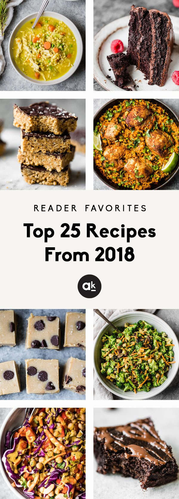 The top 25 recipes from Ambitious Kitchen in 2018! These 25 incredible recipes are the most made, clicked on, and shared from AK readers all year long. From muffins and salads to the best paleo chocolate cake, these recipes are ones to make again and again.