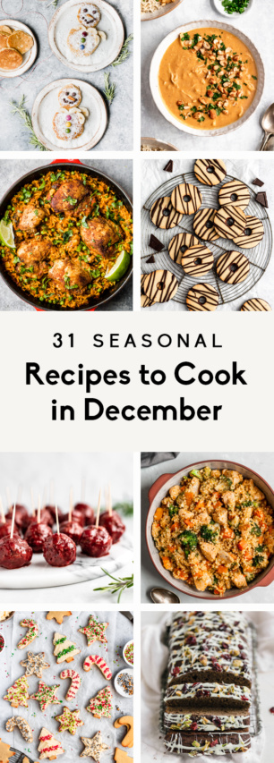 collage of seasonal recipes to cook in decmeber