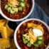 healthy chili recipes: turkey chili in two bowls