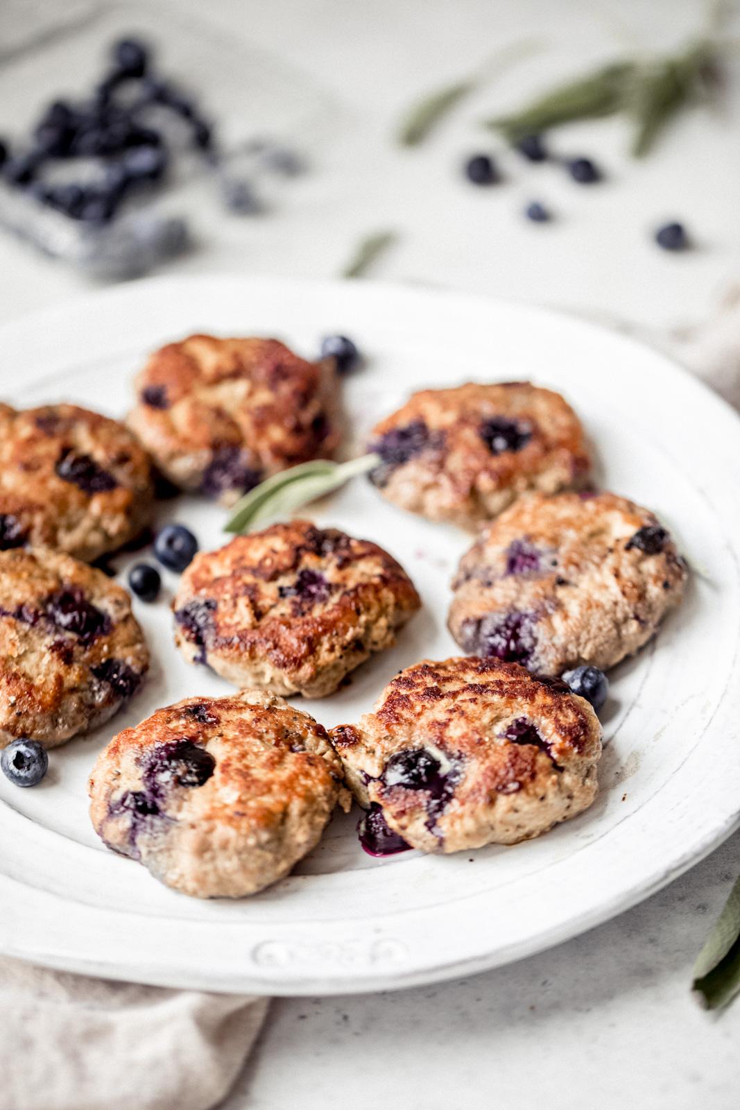 maple blueberry turkey sausage breakfast patties on a plate