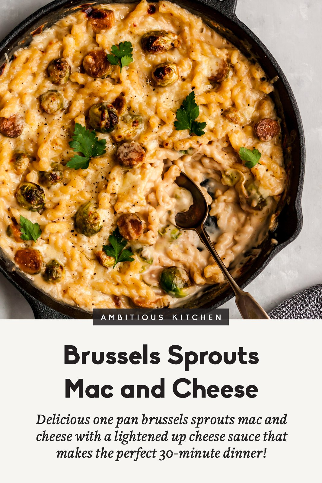 Brussels sprouts mac and cheese with text overlay