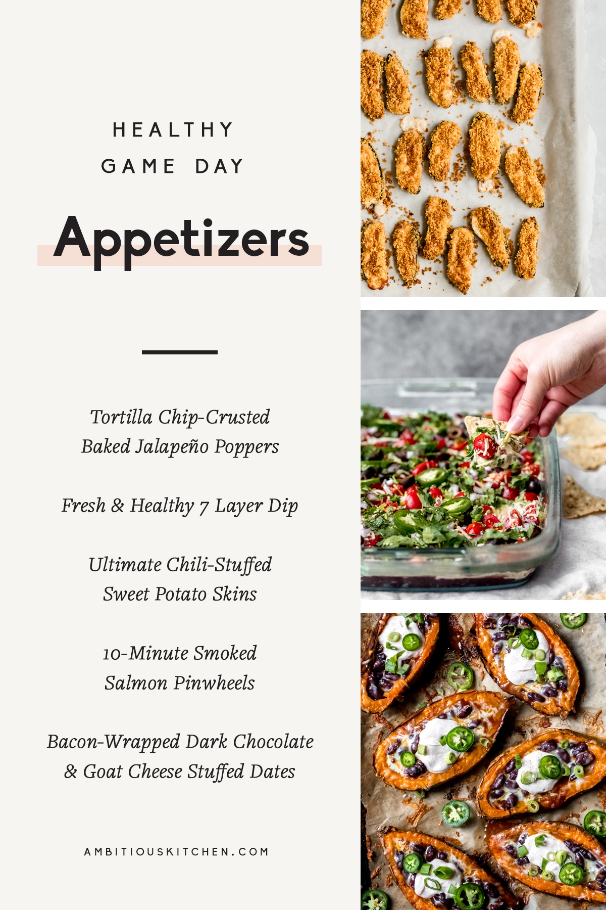 collage of the best healthy game day appetizers