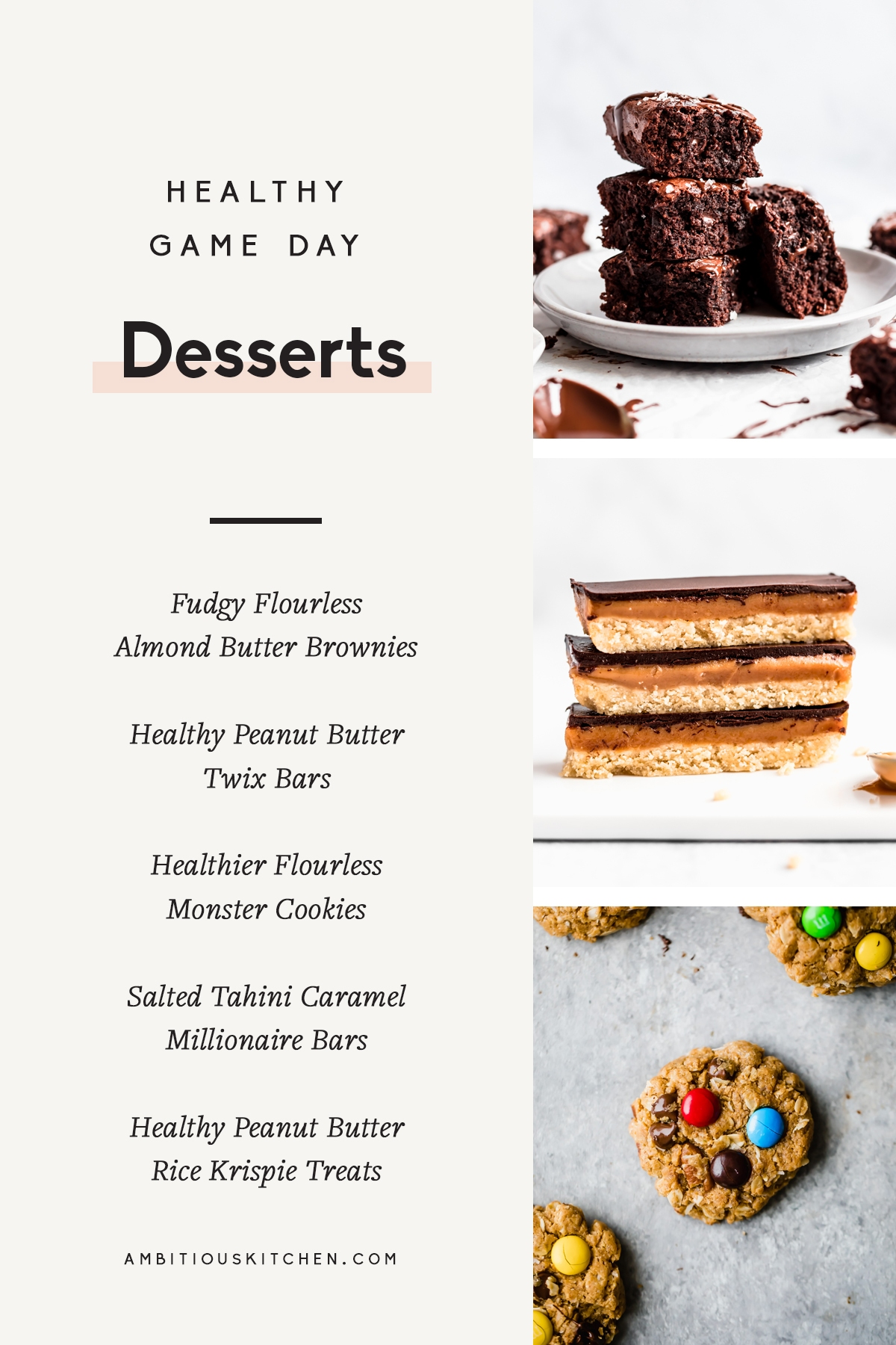 collage of healthy game day desserts