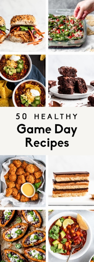 collage of healthy game day recipes