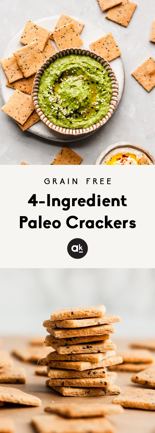 Paleo crackers made with almond flour! You'll only need 4 ingredients for these deliciously crispy protein-packed low carb crackers. Plus we've got 5 different flavor variations for you to try!