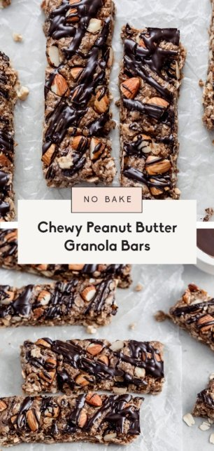 collage of homemade peanut butter granola bars