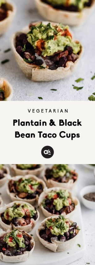 collage of black bean taco cups