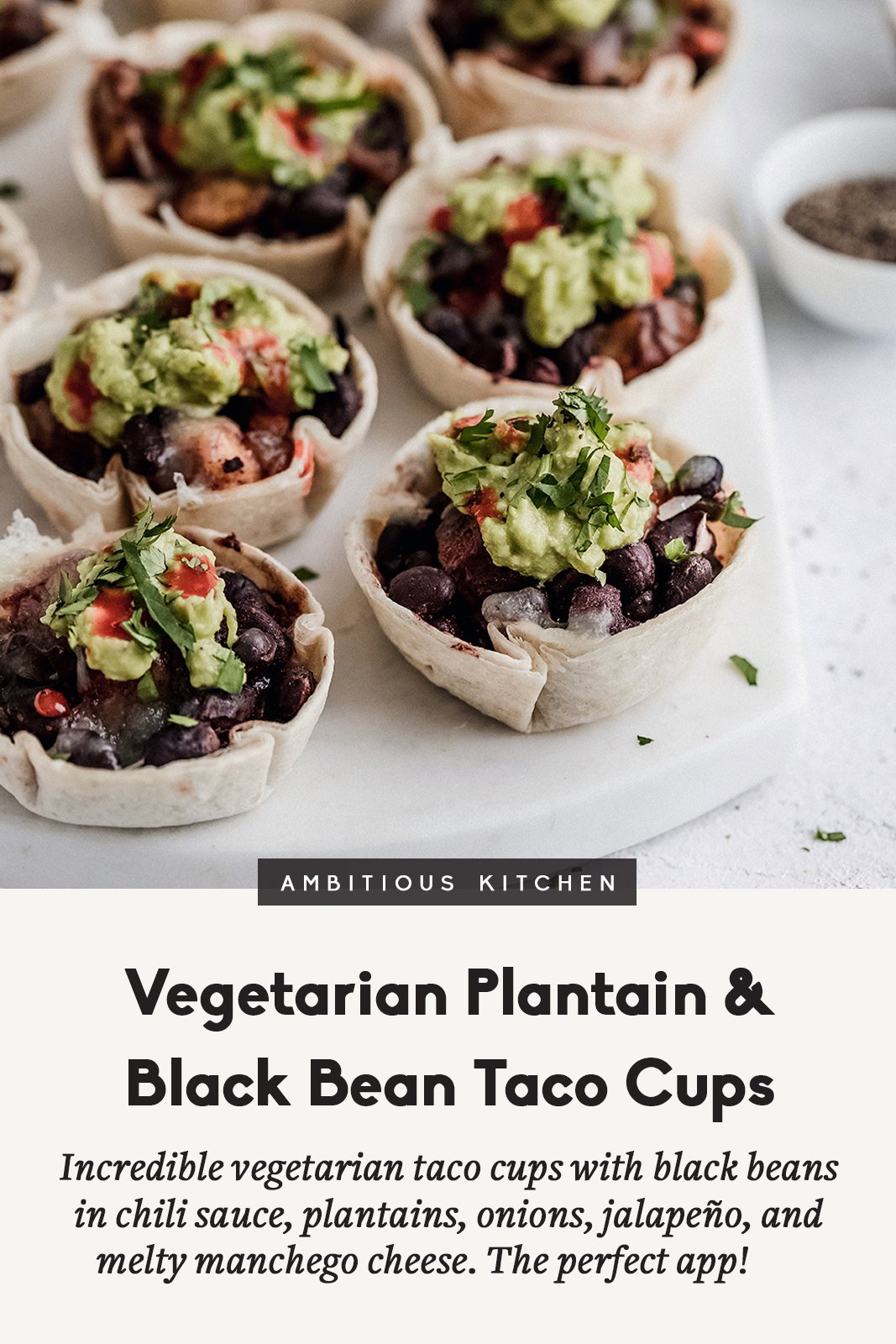 black bean and plantain taco cups with a title underneath