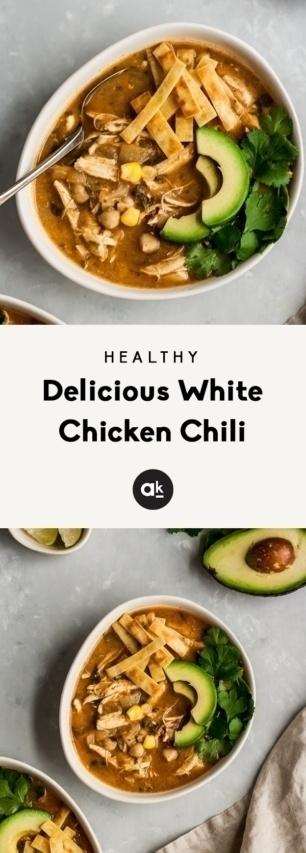 collage of healthy white chicken chili