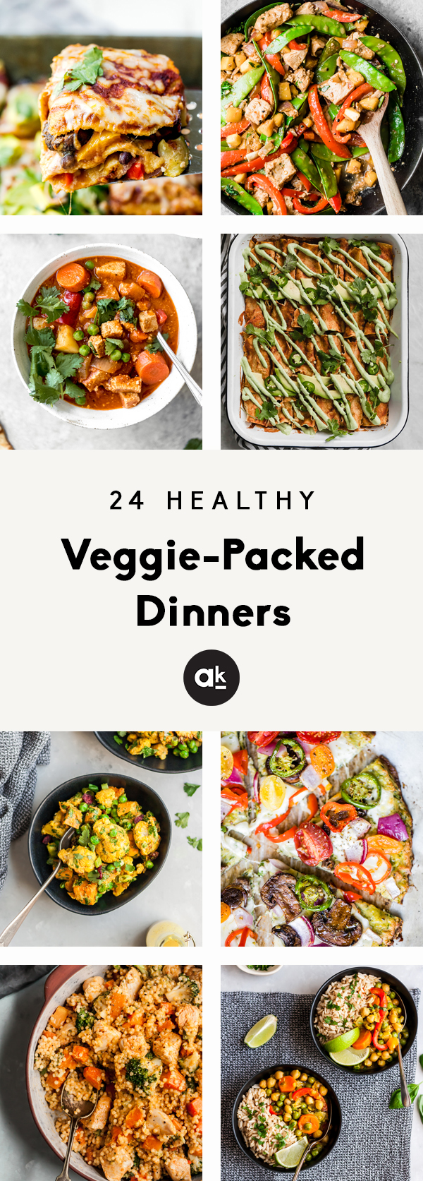 24 delicious, healthy veggie-packed dinners to make during the week! These recipes have plenty of protein and perfect for meal prep or family dinners.