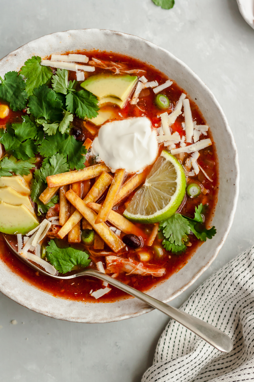The best healthy Slow Cooker Mexican Chicken Tortilla Soup recipe loaded with fire-roasted tomatoes, tender chicken and savory spices. This easy recipe is perfect for meal prep or family dinner and can easily be made on the stovetop too. Top with avocado, cheese, sour cream and crispy tortilla chips!