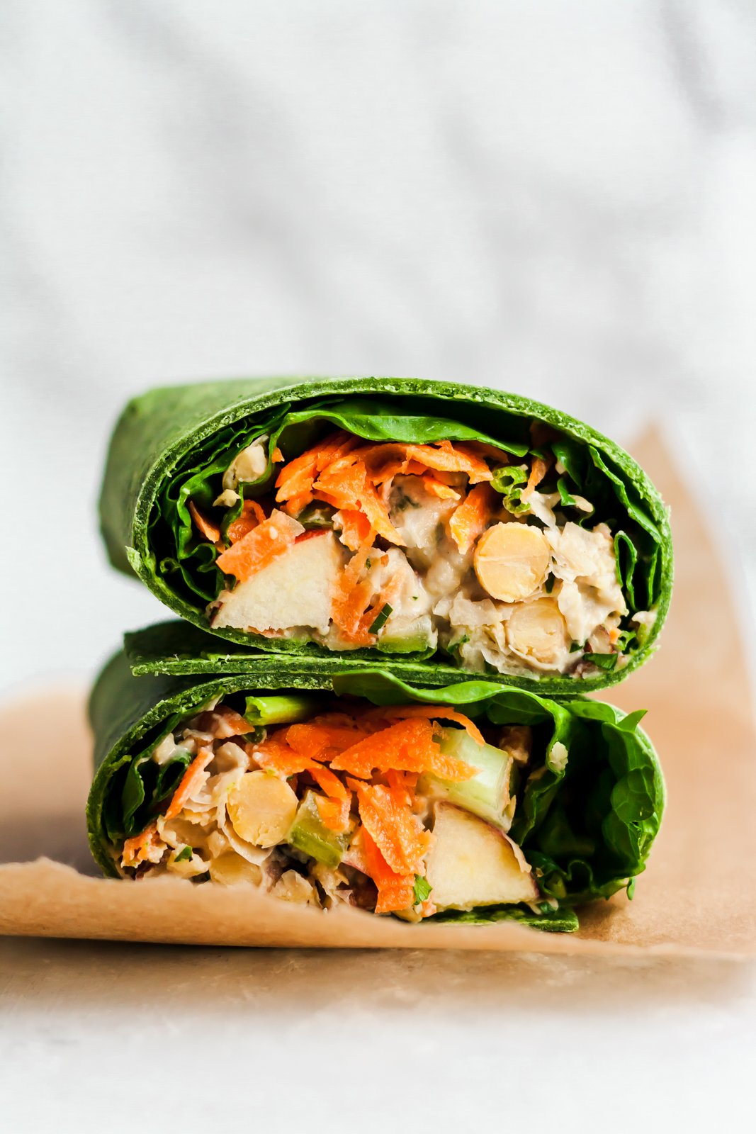 vegan chickpea wraps stacked on top of eachother