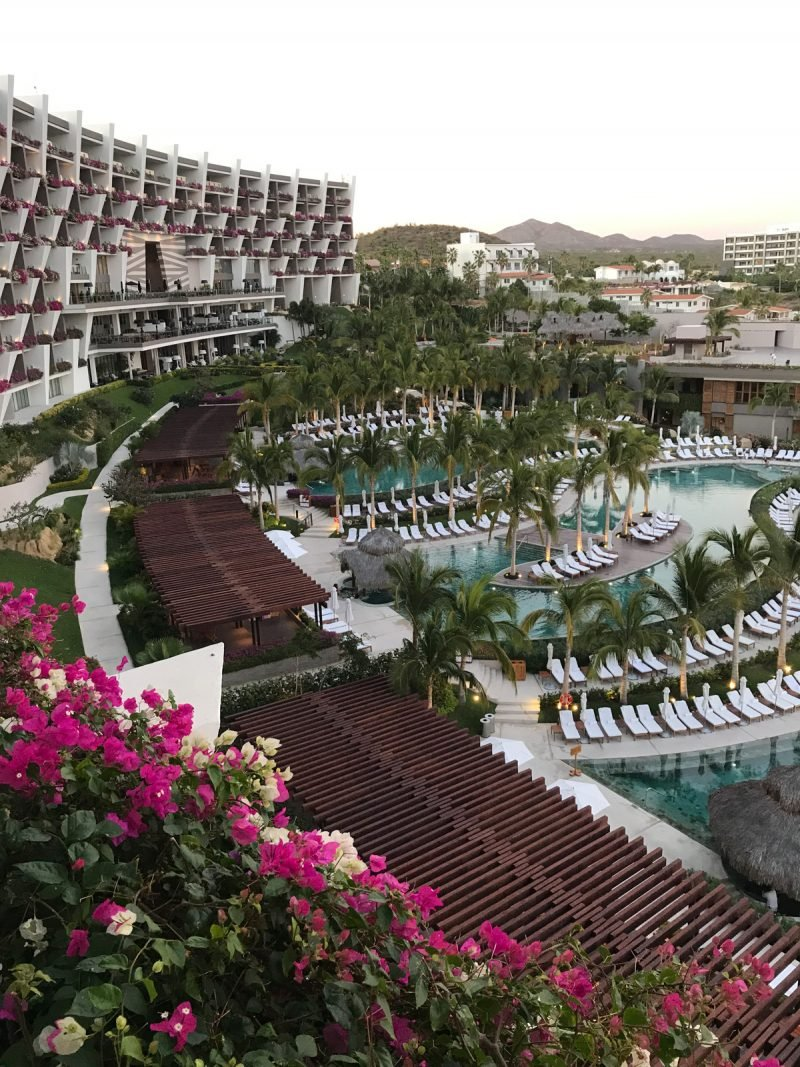 view of grand velas los cabos resort from a balcony